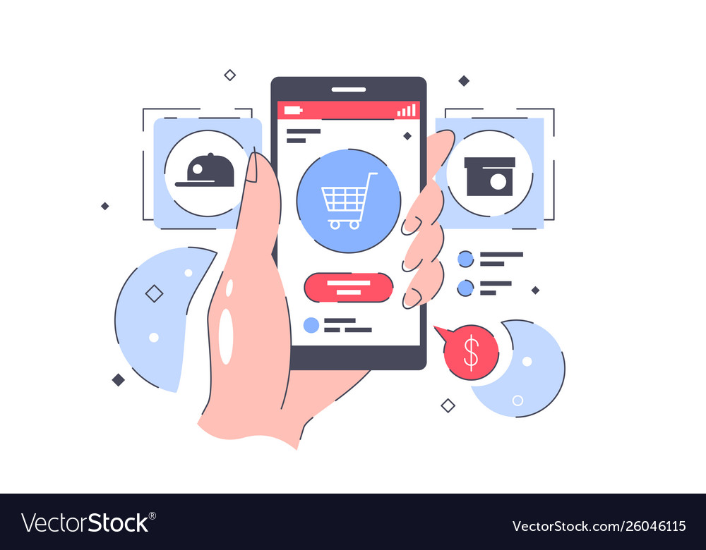 Flat isolated hand with online buying from cell