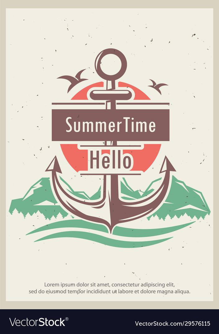 Hello summer time retro poster design