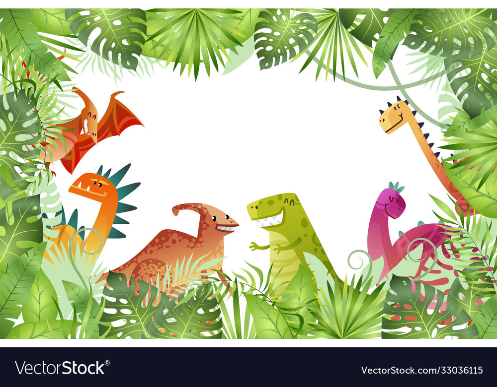 Jungle background funny dinosaurs on rainforest