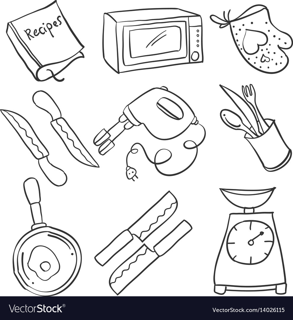 Kitchen Set Hand Draw Doodles Royalty Free Vector Image