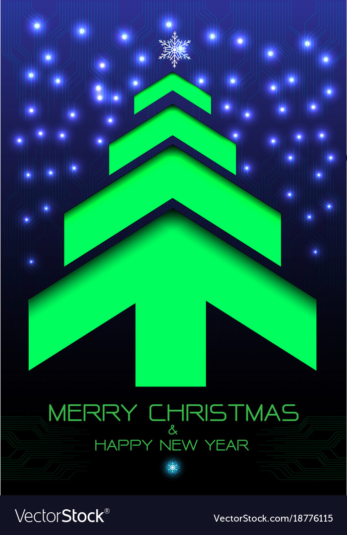 Merry christmas happy new year green arrow blue vector image