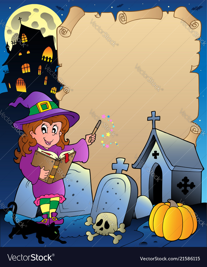 Parchment With Halloween Theme 5 Vector Image