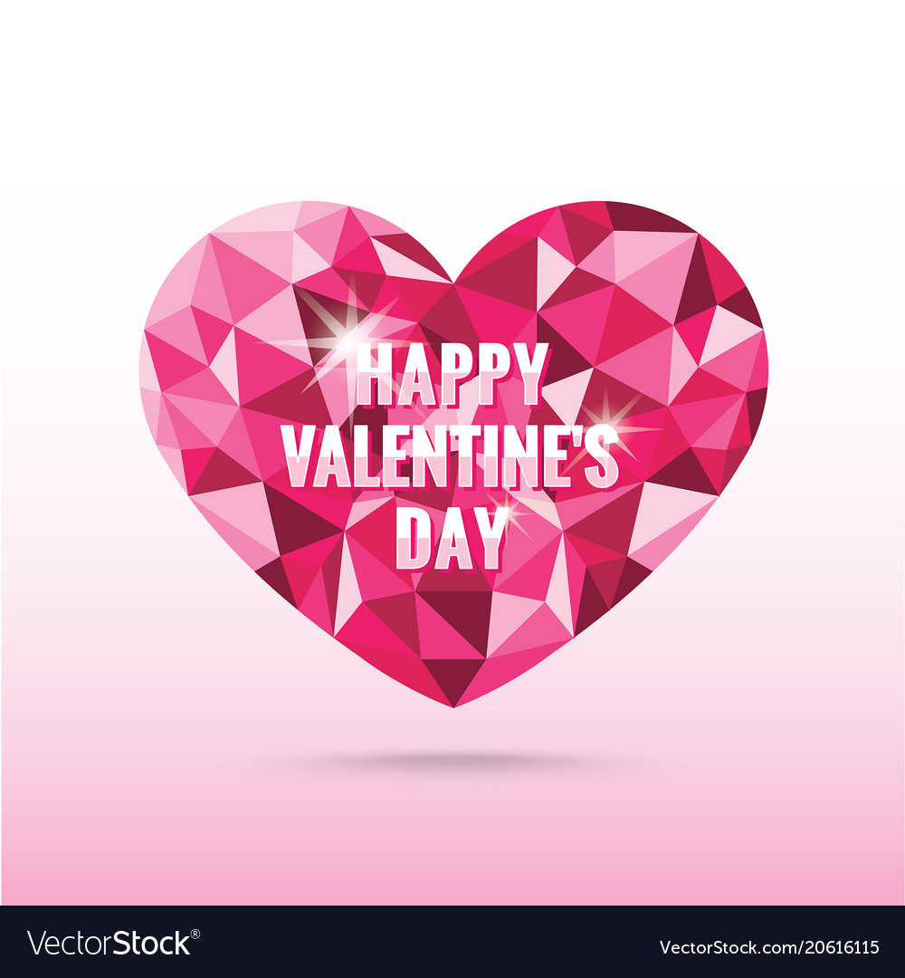 Polygonal pink heart valentines day with shadow