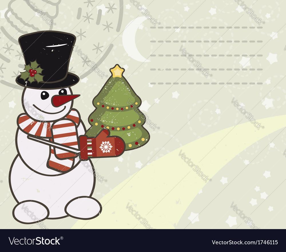 Retro Christmas card with a snowman