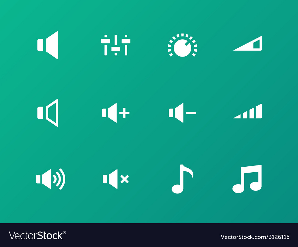 Speaker icons on green background Volume control vector image