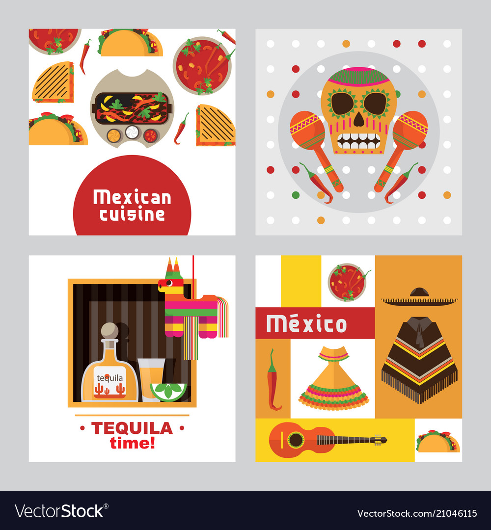 Square cards templates dedicated to mexico