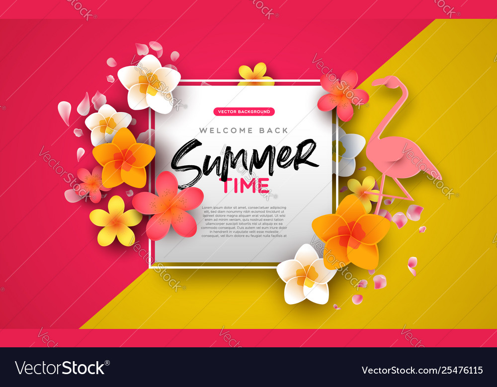 Summer background template pink flowers and