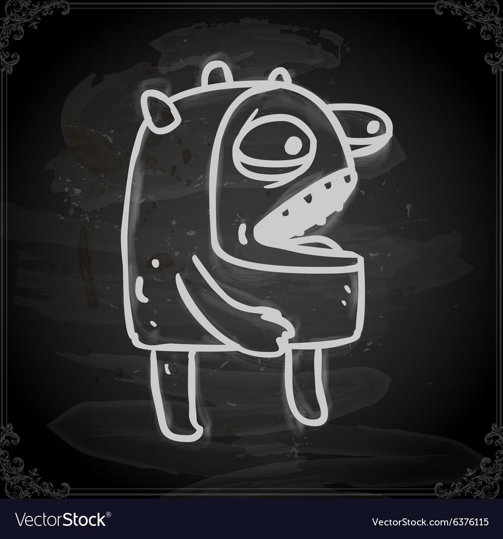 Talking Alien Drawing on Chalk Board
