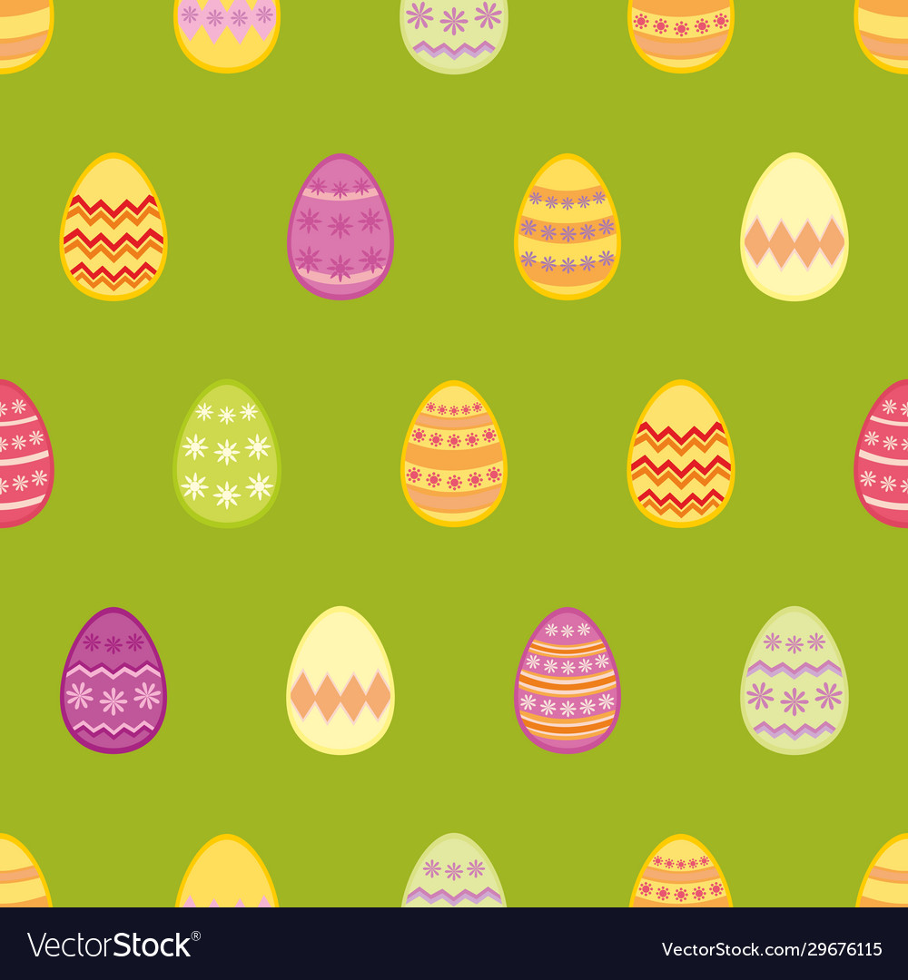 Tile pattern with colorful easter eggs on green