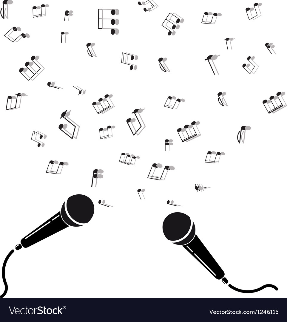 Two microphones black silhouette with notes A