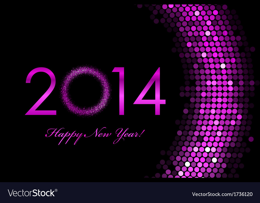 2014 happy new year purple background vector image