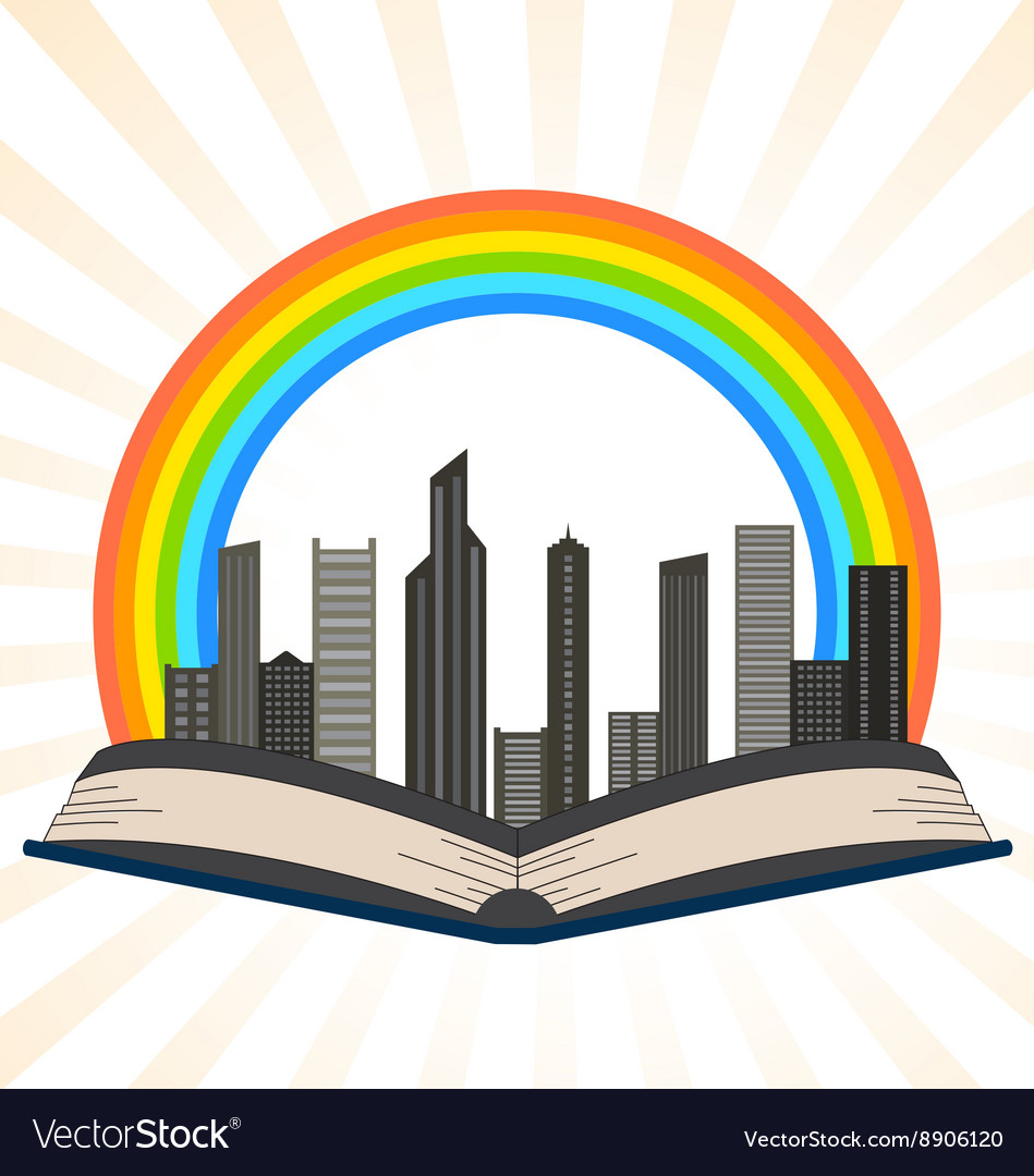 A book with a rainbow over city