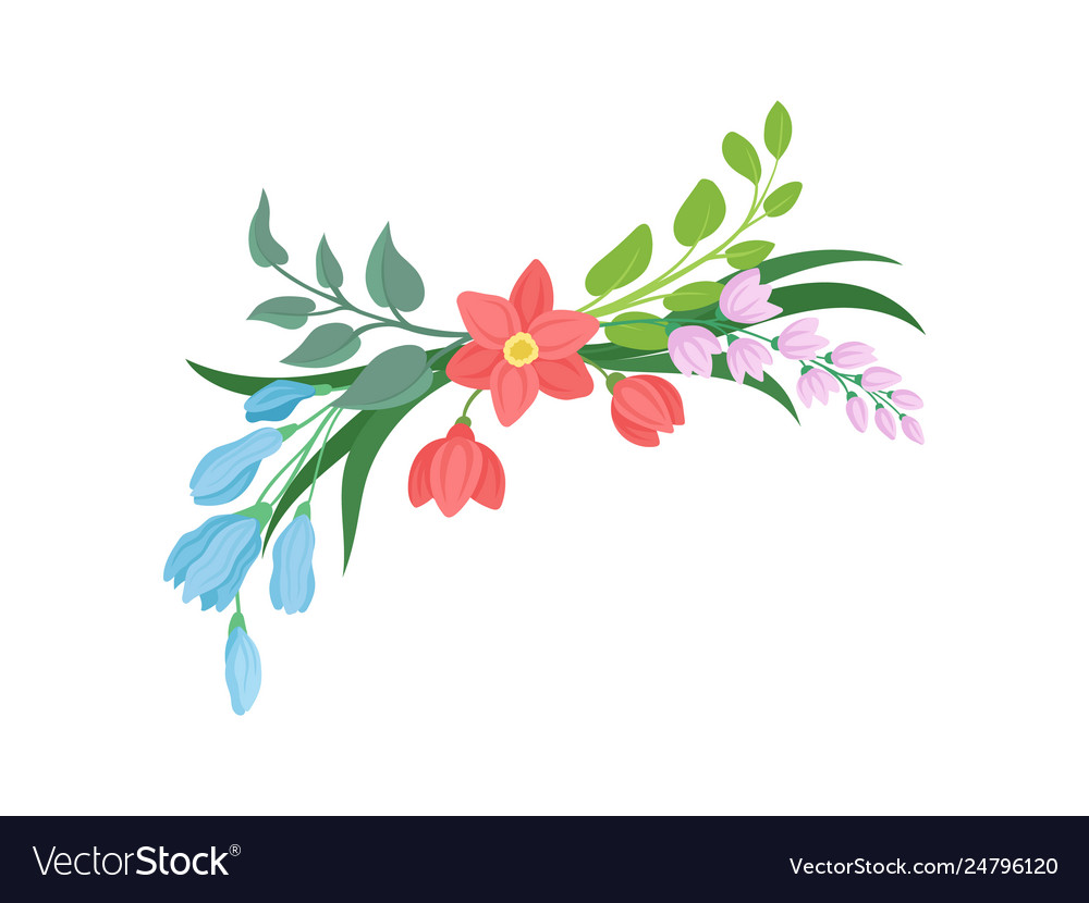Cartoon flowers on white background