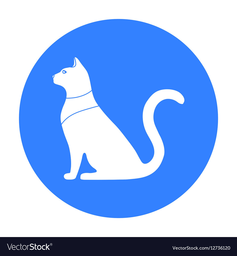 Cat Goddess Bastet Icon In Black Style Isolated On