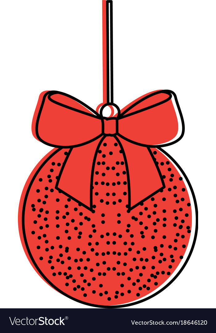 Christmas ball with bow ribbon decoration vector image