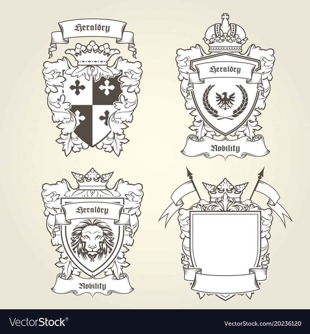 Coat of arms templates - heraldic shield Vector Image