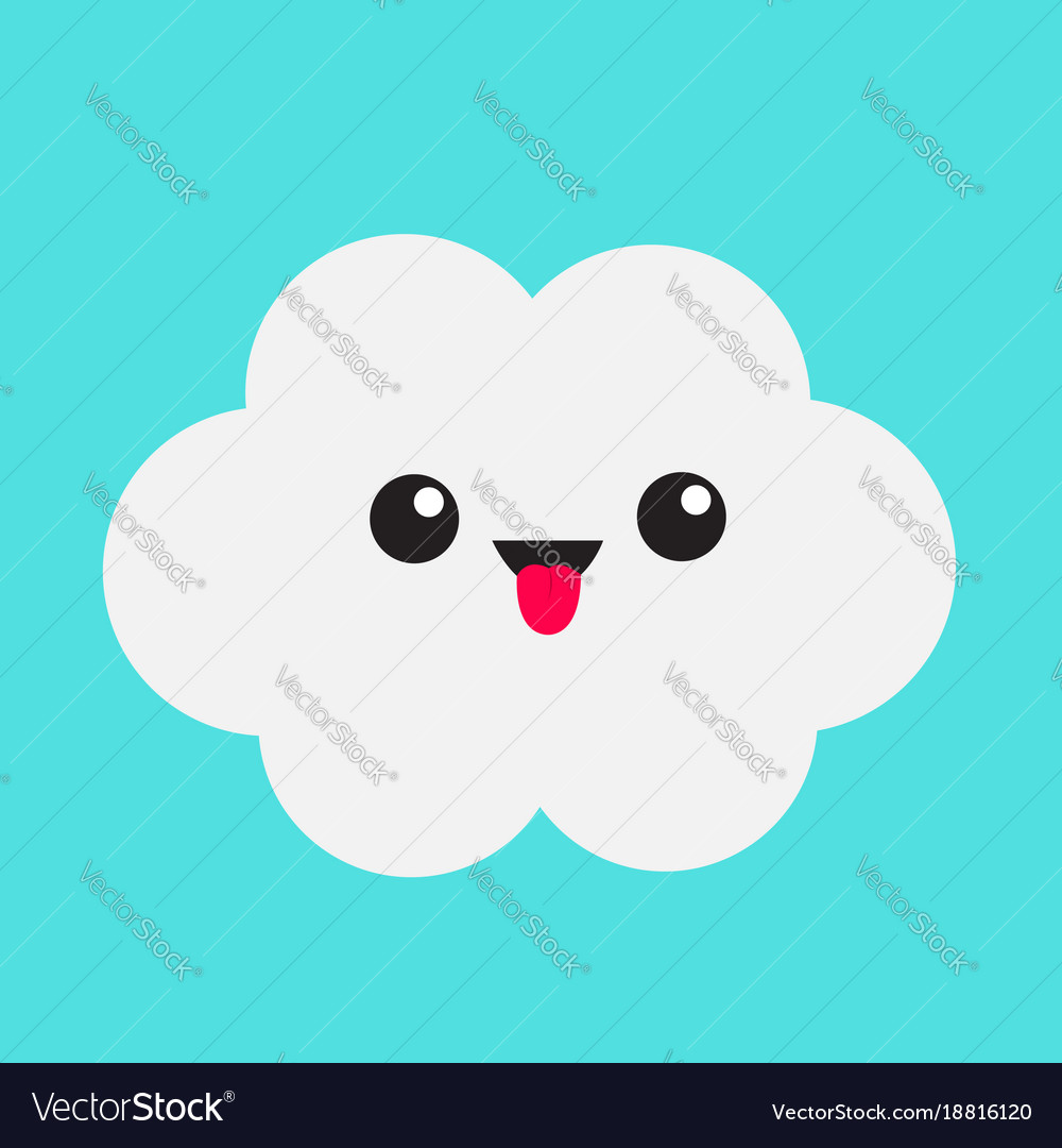cute cartoon kawaii white gray cloud showing vector image