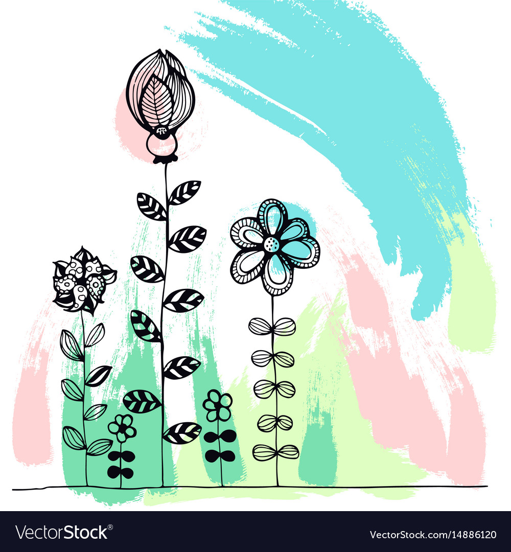 Doodle flowers on a colourful background