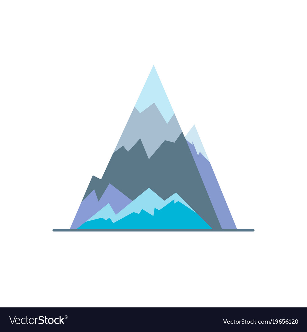 ice mountain peak icon in flat style royalty free vector