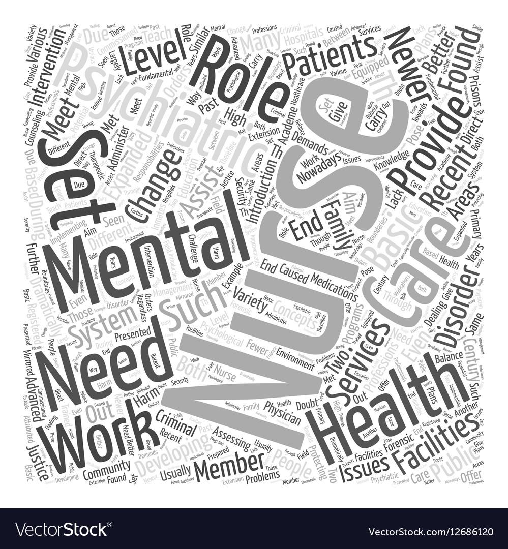 Mental Health Nursing Word Cloud Concept Vector Image