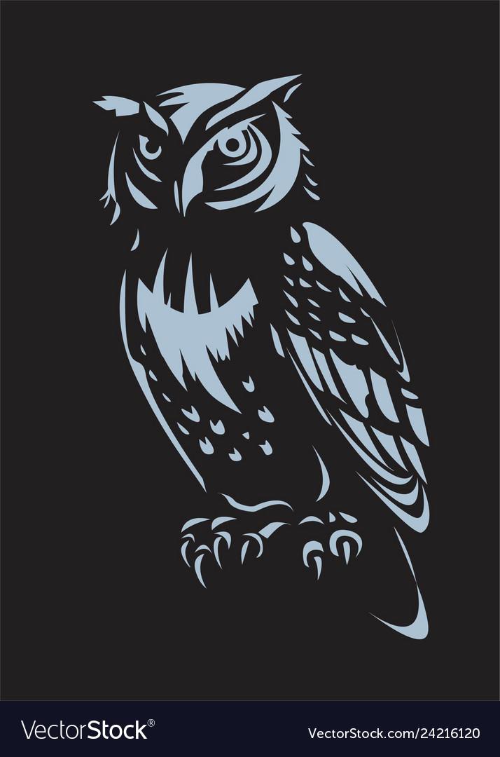 Owl design on black background