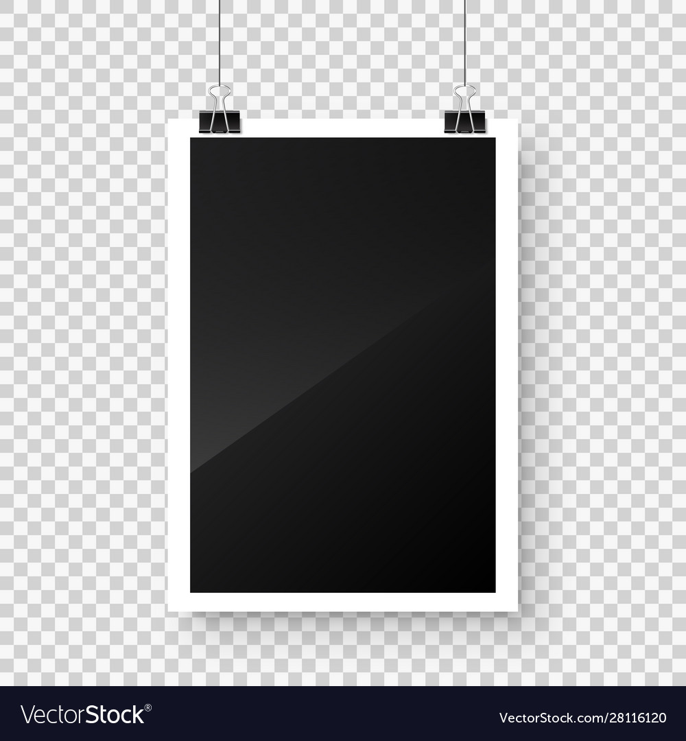 Photo card frame film hanging on paper clips with