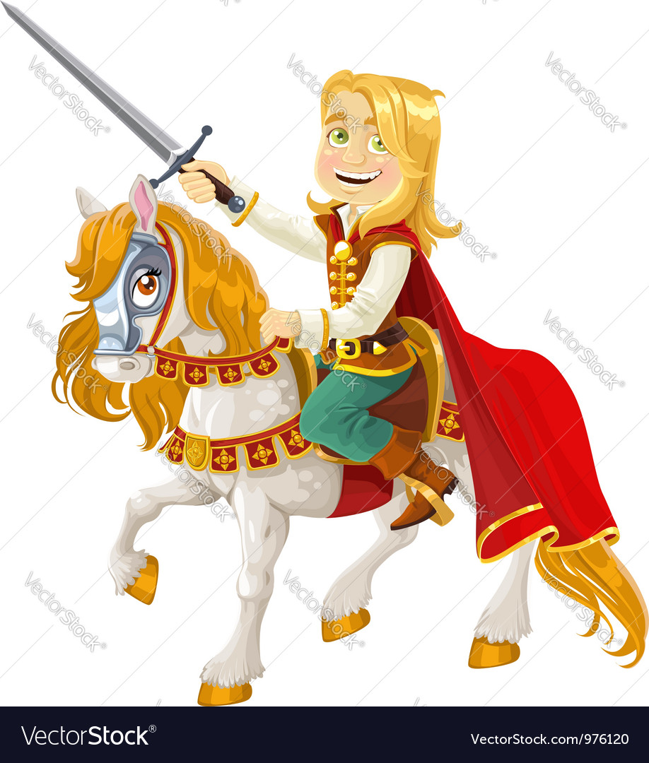 Prince Charming on a white horse vector image