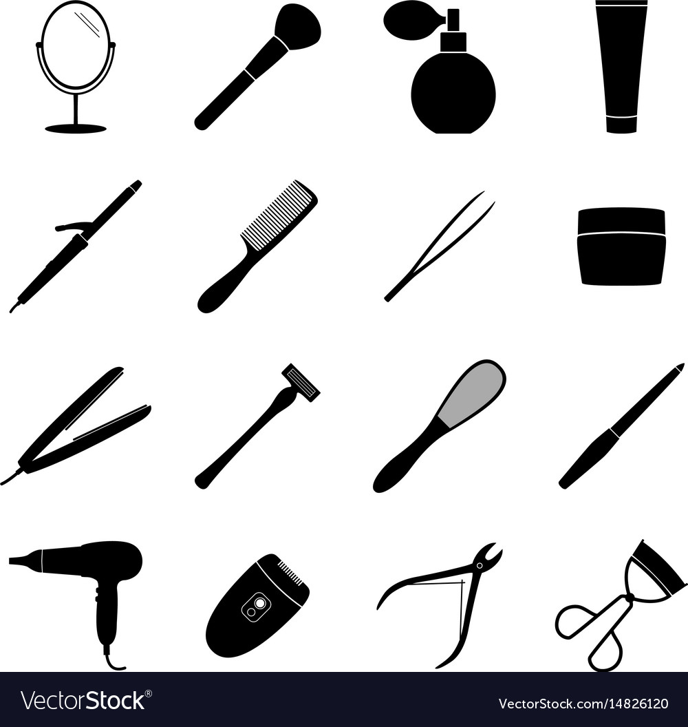 Set of black beauty icons