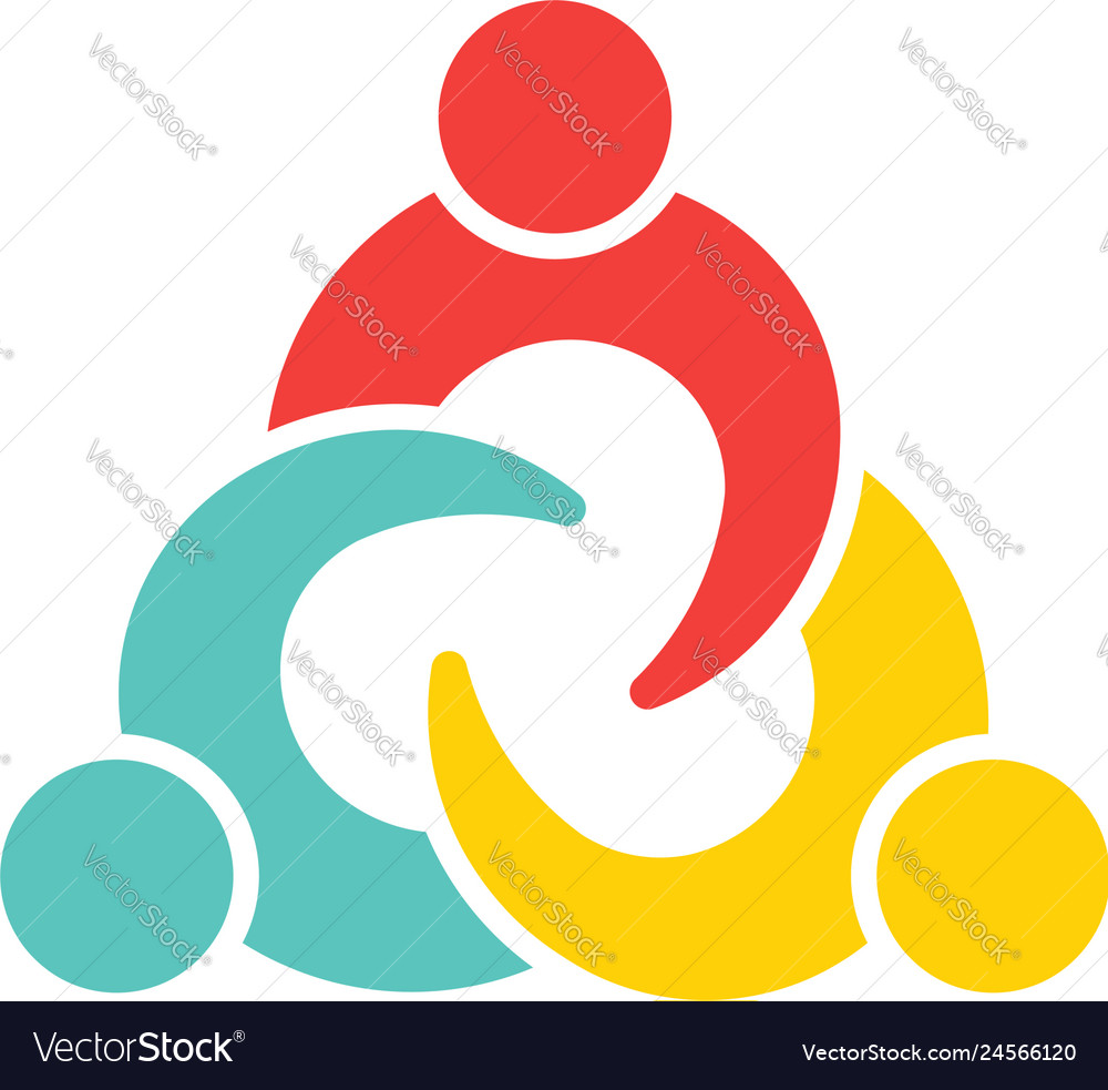 Teamwork connection three people logo