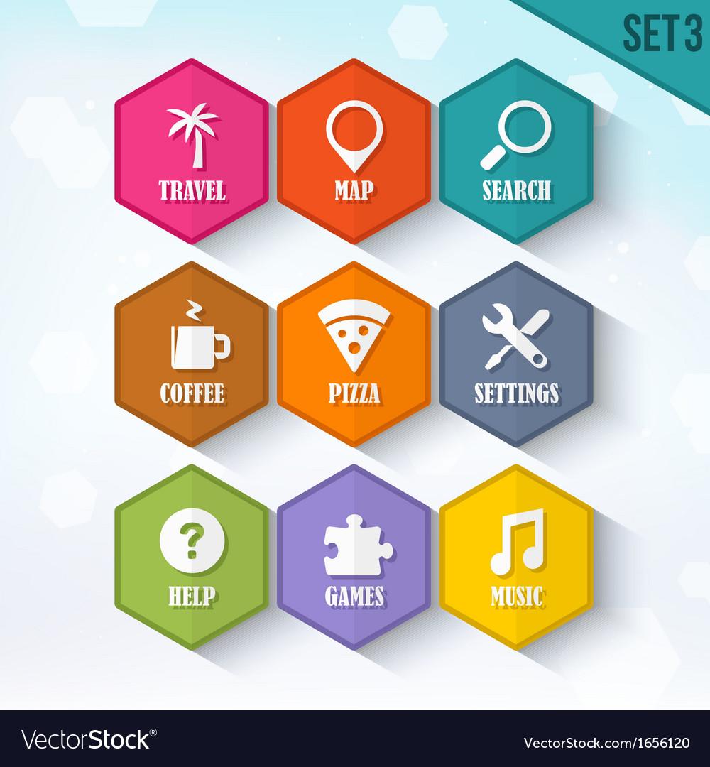 Trendy Rounded Hexagon Icons Set 3