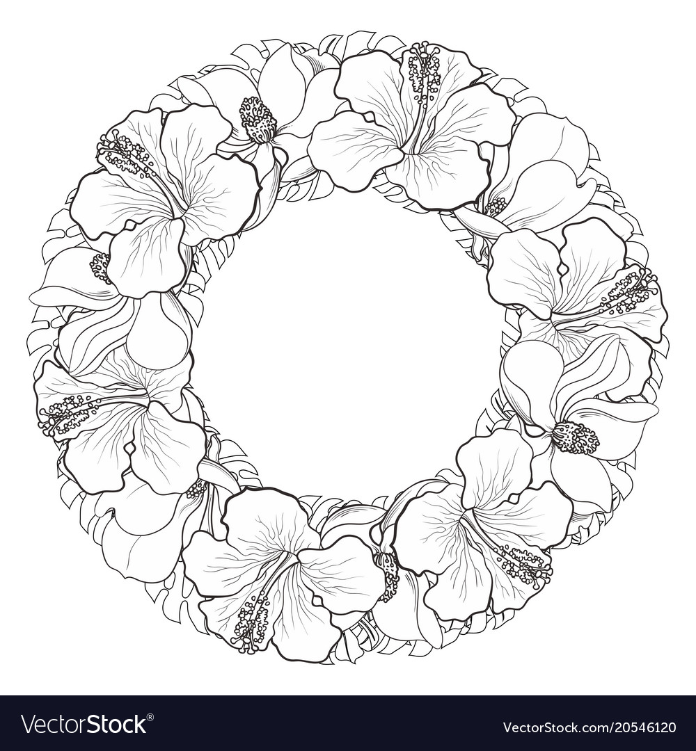 Tropical flowers in sketch line floral composition vector image