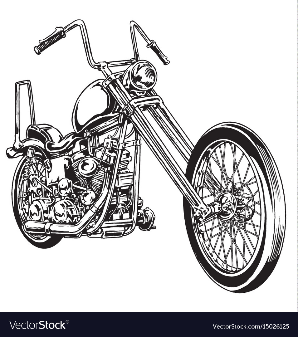 And drawn and inked vintage american chopper motor