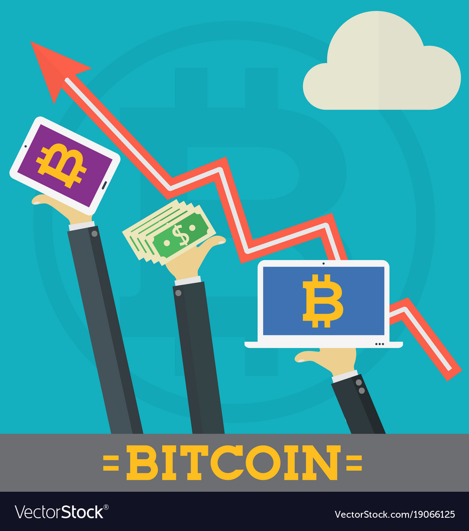 Bitcoin growth on cryptocurrency markets concept