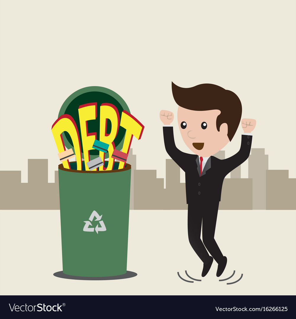 Businessman no debt debt concept business man vector image