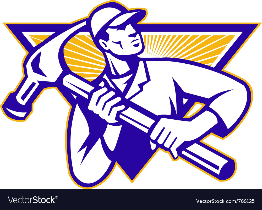 Carpenter construction worker vector image