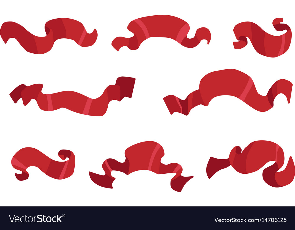 Cartoon red banners vector image