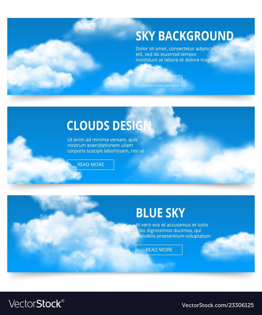 Cloudy sky banners realistic clouds weather