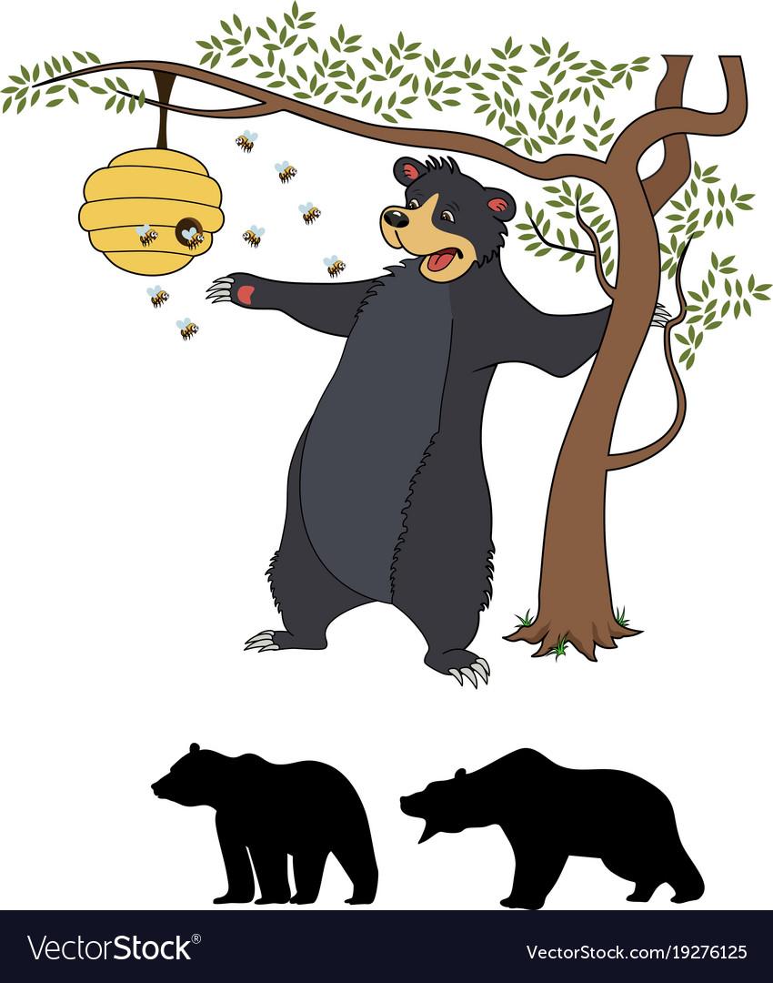 Cute cartoon bear cub with honey and bees