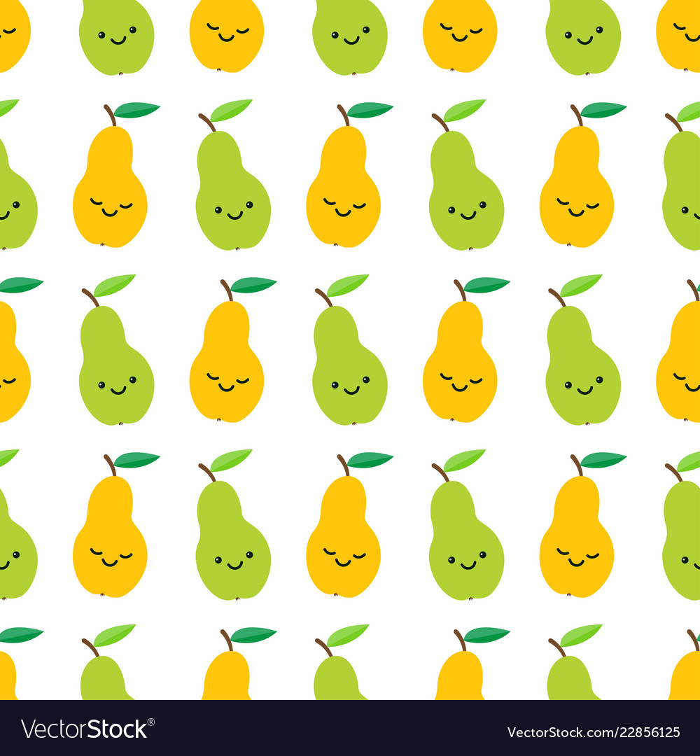 Cute pears seamless pattern in cartoon style