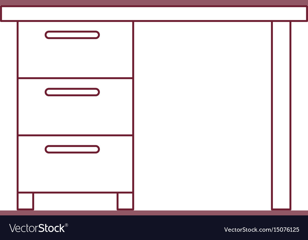 Dark red line contour of wooden office desk with vector image