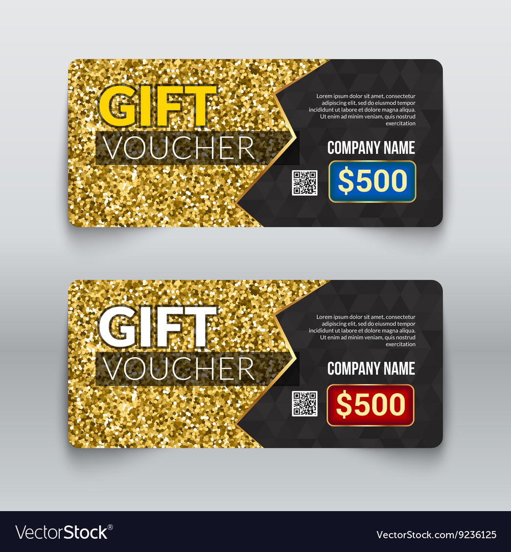 Gift voucher certificate design with gold glitter vector