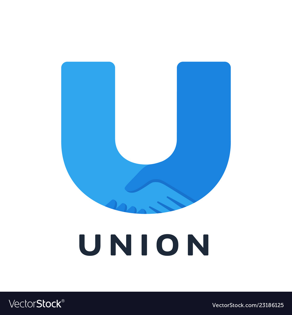Handshake u-shaped logo union concept teamwork