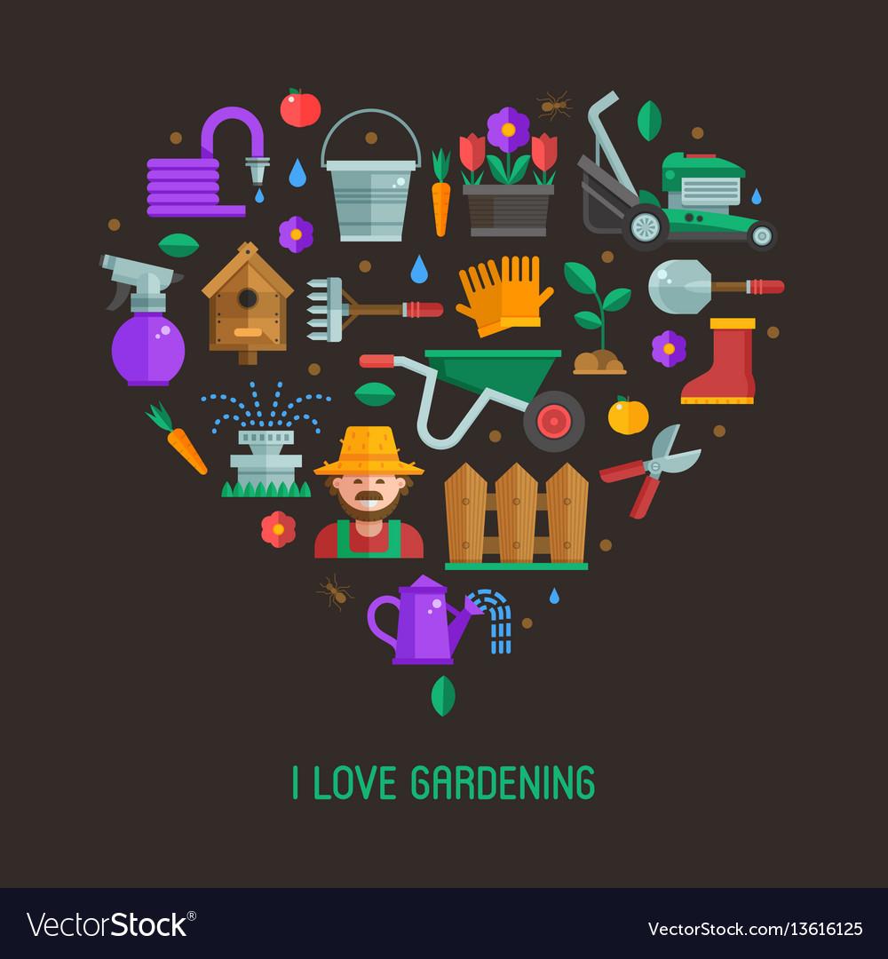 I love gardening card vector image