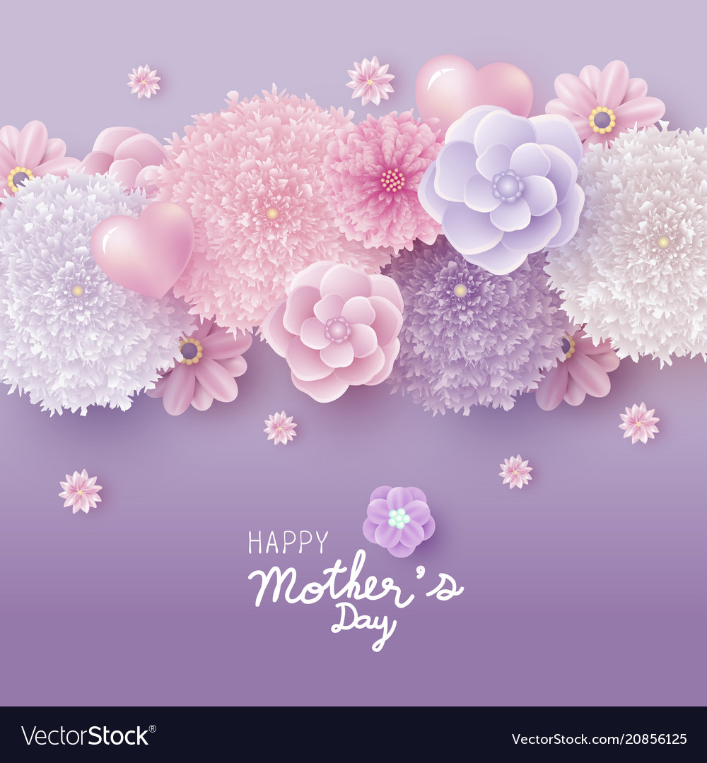 Mothers day card concept design of flowers