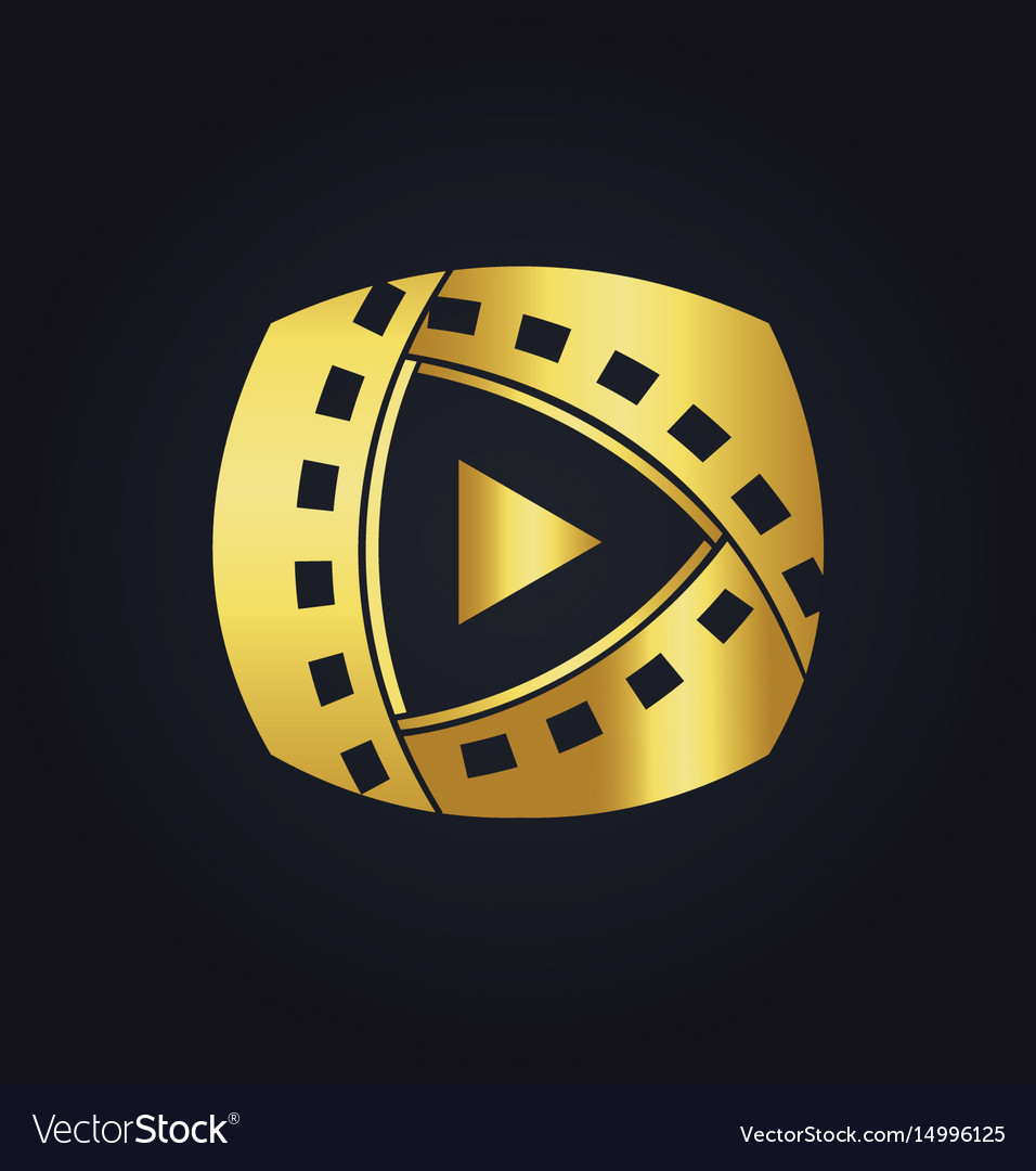 Play film media technology gold logo vector image