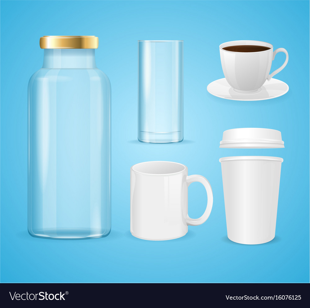 Realistic cup can and bottle set for liquid