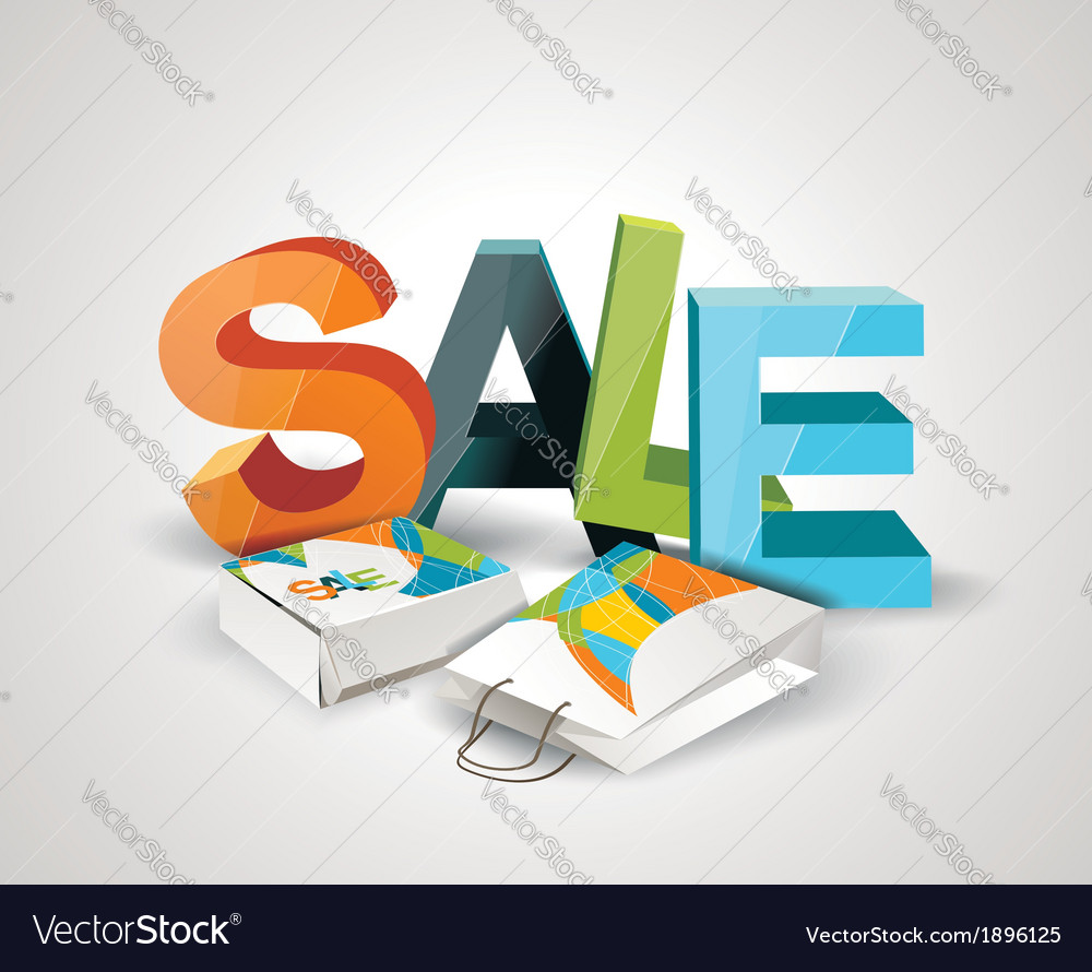 Sale Tag Paper Bags and Box with 3d letters SALE