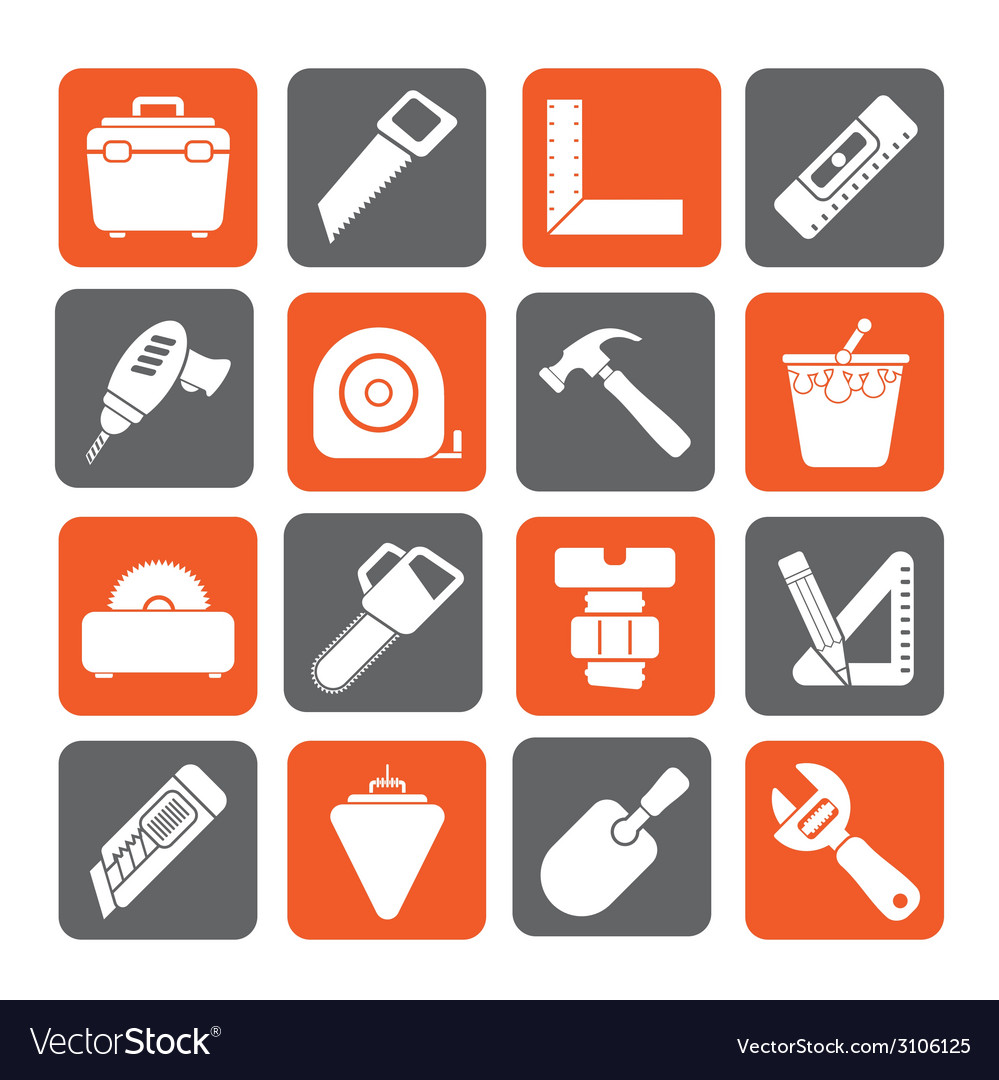 Silhouette Construction objects and tools icons