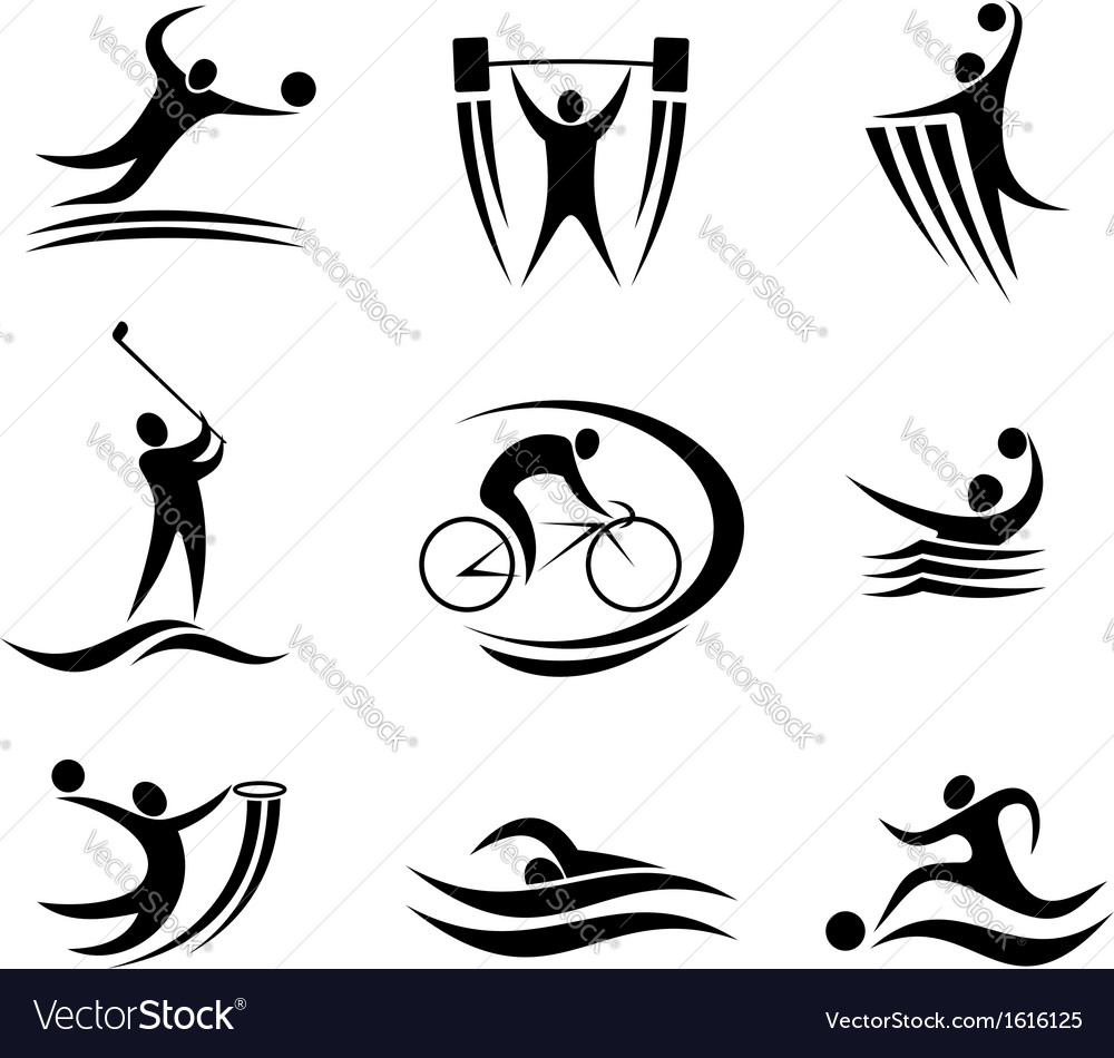Sports Icons And Symbols Royalty Free Vector Image