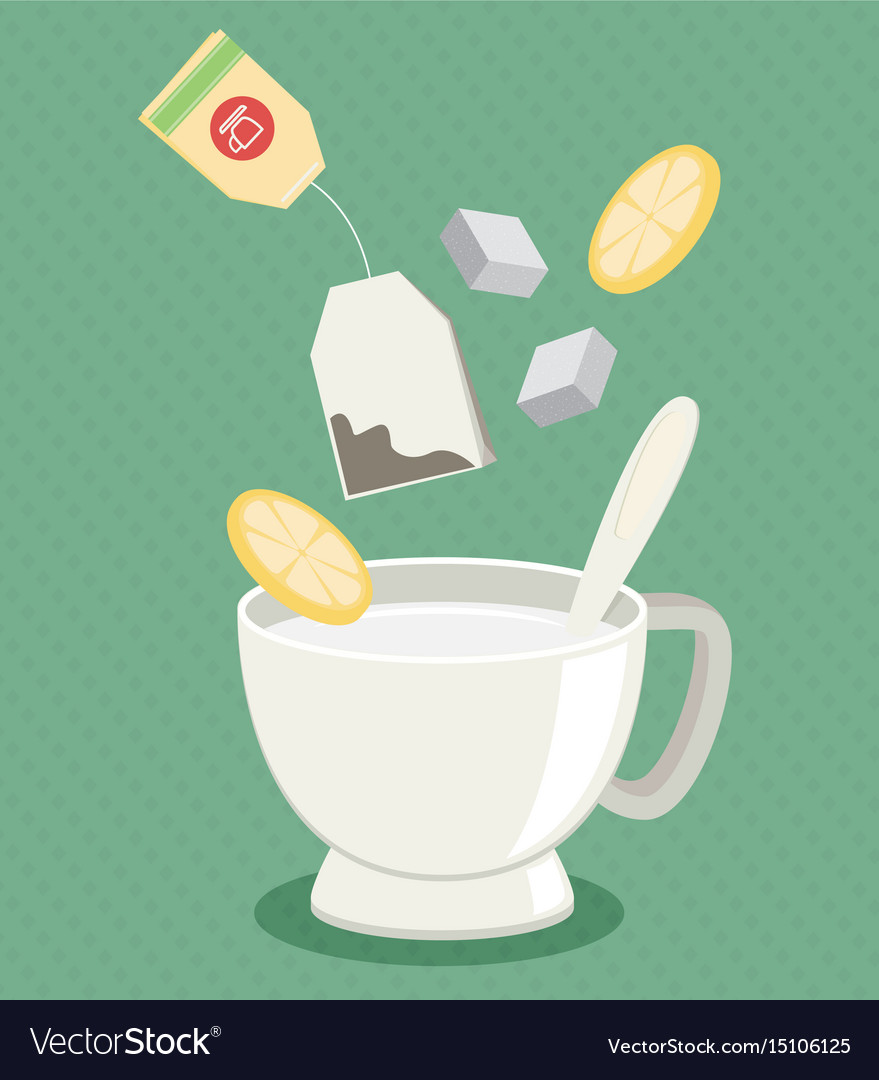 Tea cup with sugar and lemon flat vector image
